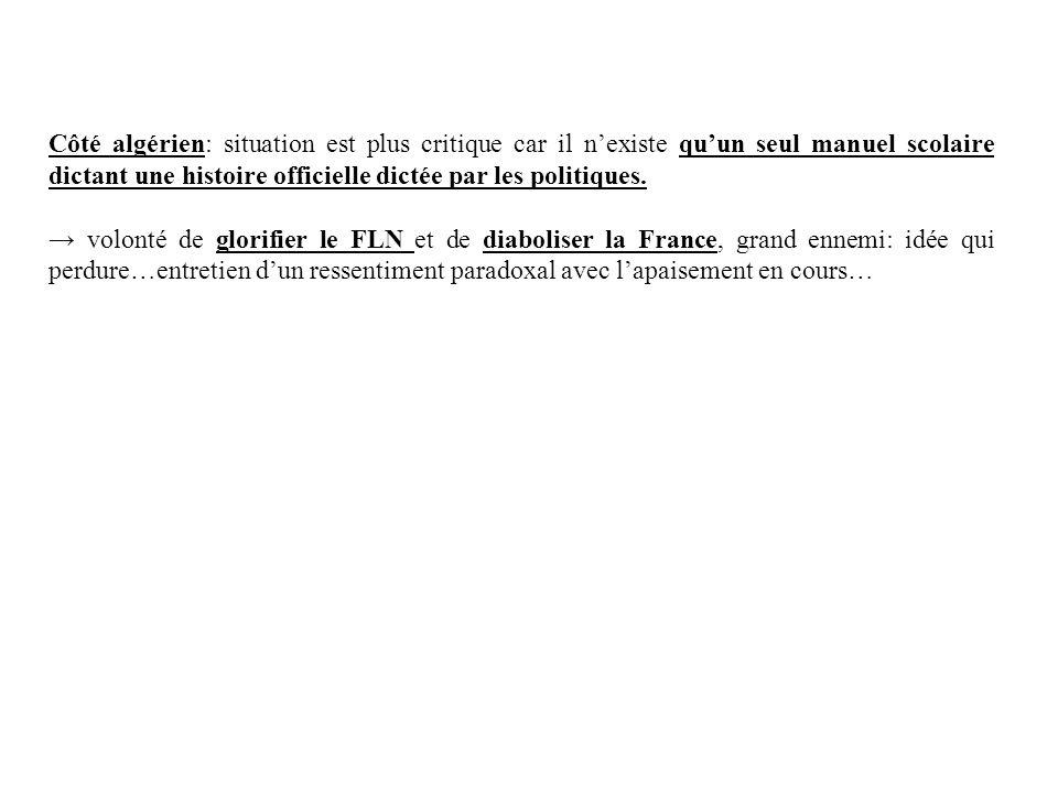 Côté algérien: situation est plus critique car il nexiste quun seul manuel scolaire dictant une histoire officielle dictée par les politiques. volonté
