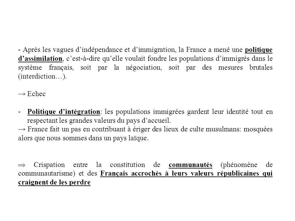 - Après les vagues dindépendance et dimmigration, la France a mené une politique dassimilation, cest-à-dire quelle voulait fondre les populations dimm