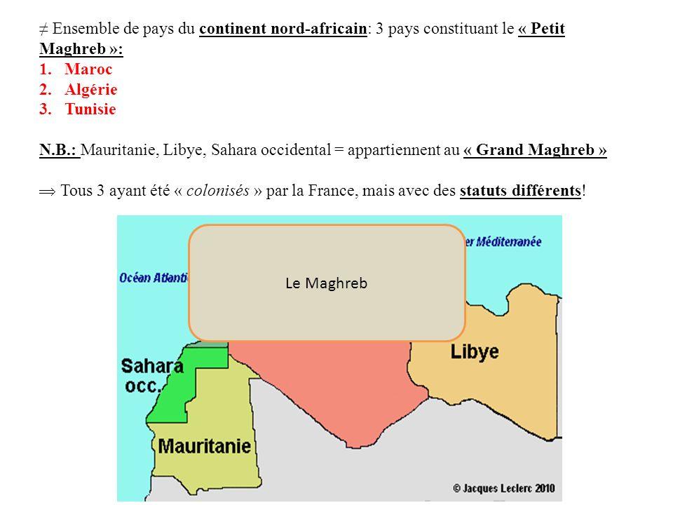 Ensemble de pays du continent nord-africain: 3 pays constituant le « Petit Maghreb »: 1.Maroc 2.Algérie 3.Tunisie N.B.: Mauritanie, Libye, Sahara occi