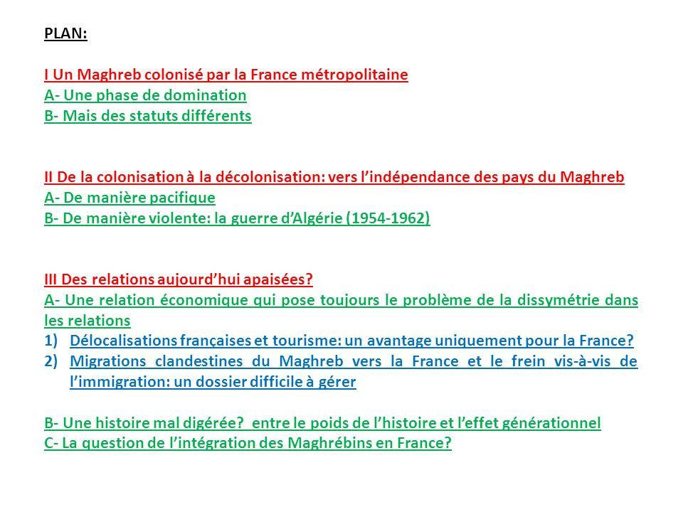 PLAN: I Un Maghreb colonisé par la France métropolitaine A- Une phase de domination B- Mais des statuts différents II De la colonisation à la décoloni