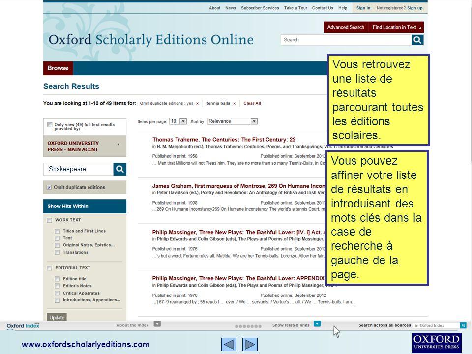 www.oxfordscholarlyeditions.com Votre recherche à travers OSEO se fait dune façon simple et facile.