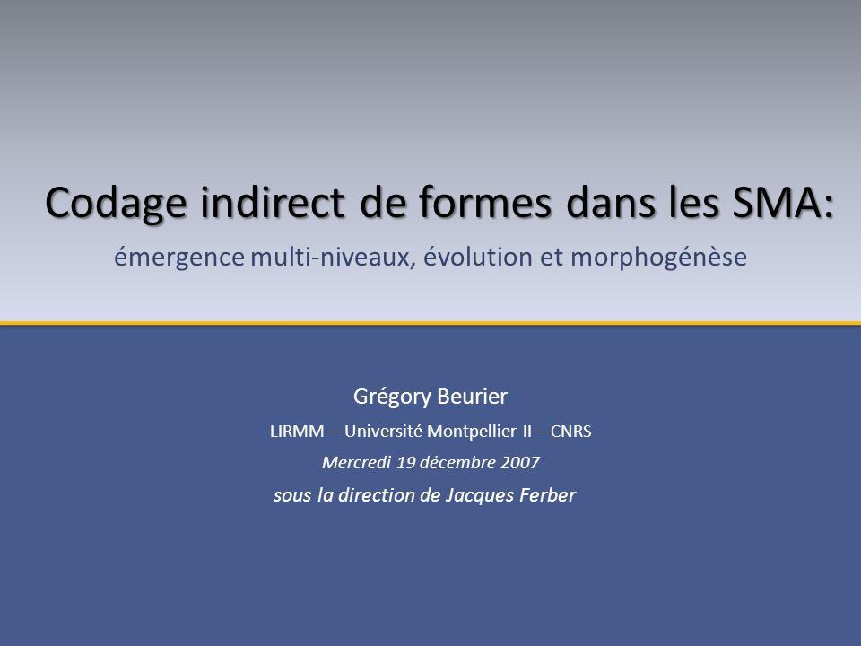 Grégory Beurier LIRMM – Université Montpellier II – CNRS Mercredi 19 décembre 2007 Codage indirect de formes dans les SMA: émergence multi-niveaux, évolution et morphogénèse sous la direction de Jacques Ferber
