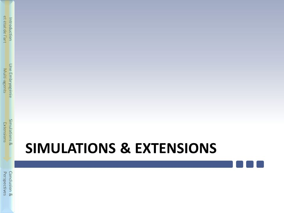Introduction et état de lart Une Embryogénie Multi-agents Simulations & Extensions Conclusion & Perspectives Introduction et état de lart Une Embryogénie Multi-agents Simulations & Extensions Conclusion & Perspectives SIMULATIONS & EXTENSIONS