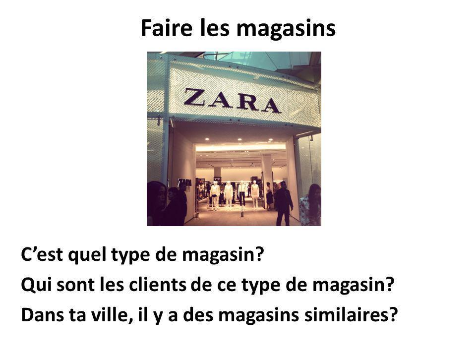 En France, en géneral,pour acheter des vêtements,on va dans un grand magasin parce quil ya beaucoup de choix, differentes marques.