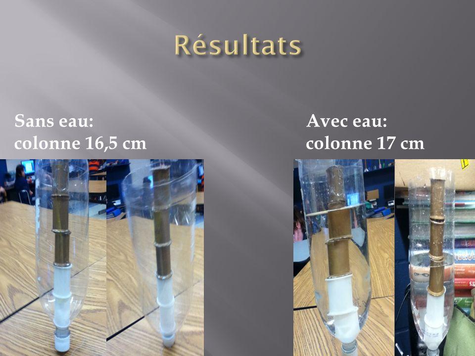 Sans eau: colonne 16,5 cm Avec eau: colonne 17 cm