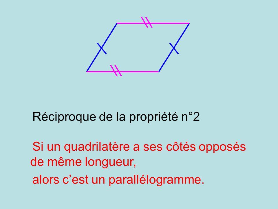 a ses côtés opposés de même longueur, alors cest un parallélogramme. Réciproque de la propriété n°2 Si un quadrilatère