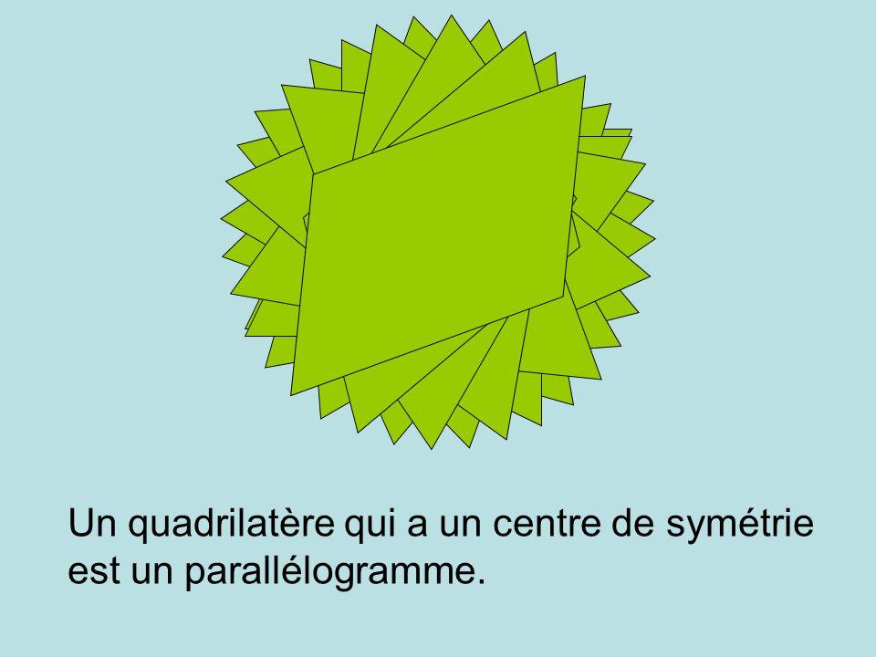 I x Un quadrilatère qui a un centre de symétrie est un parallélogramme.