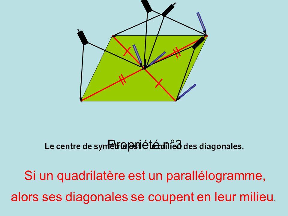 Propriété n°3 Si un quadrilatère est un parallélogramme, le milieu des diagonales. alors ses diagonales se coupent en leur milieu. I Le centre de symé