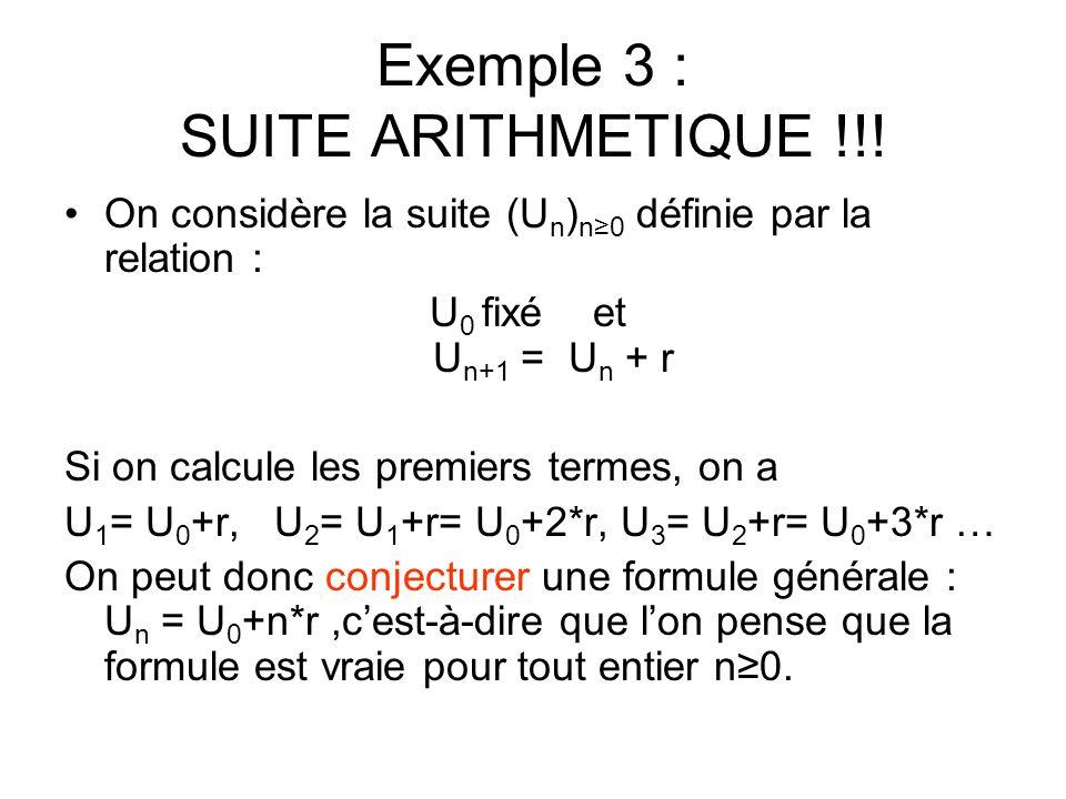 Exemple 3 : SUITE ARITHMETIQUE !!.