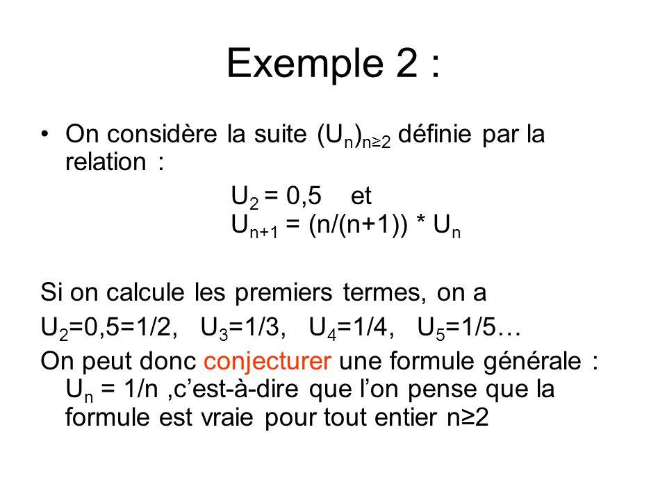 Exemple 2 : On considère la suite (U n ) n2 définie par la relation : U 2 = 0,5 et aaau U n+1 = (n/(n+1)) * U n Si on calcule les premiers termes, on a U 2 =0,5=1/2, U 3 =1/3, U 4 =1/4, U 5 =1/5… On peut donc conjecturer une formule générale : U n = 1/n,cest-à-dire que lon pense que la formule est vraie pour tout entier n2