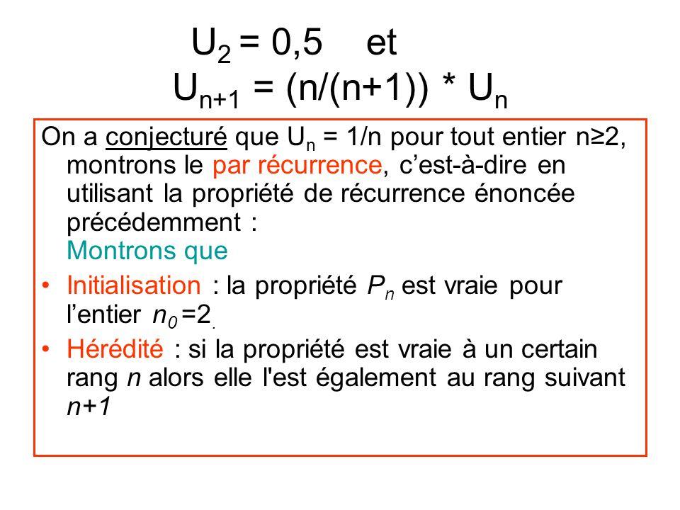 U 2 = 0,5 et aaau U n+1 = (n/(n+1)) * U n On a conjecturé que U n = 1/n pour tout entier n2, montrons le par récurrence, cest-à-dire en utilisant la propriété de récurrence énoncée précédemment : Montrons que Initialisation : la propriété P n est vraie pour lentier n 0 =2.