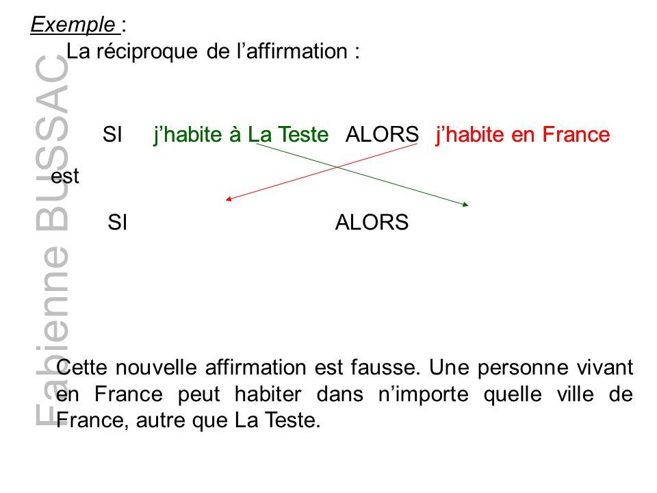 Fabienne BUSSAC Exemple : La réciproque de laffirmation : SIjhabite à La TesteALORSjhabite en France SI jhabite à La Teste ALORS jhabite en France est