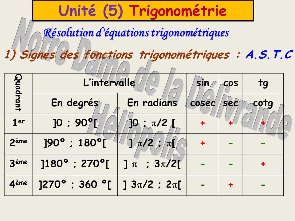 Unité (5) Trigonométrie 2- Résolution d une équation trigonométrique Pour résoudre une équation comme sin x = y où x est l inconnue et y, un nombre donné, on peut suivre les étapes suivantes : 1) On détermine la valeur de x appartenant au 1 er quadrant 2) On détermine le quadrant auquel appartient x 3) Si x appartient au 1 er quadrant, alors x = (calculatrice) 2 ème quadrant, alors x = - ou x = 180 - 3 ème quadrant, alors x = + ou x = 180 + 4 ème quadrant, alors x = 2 - ou x = 360 -