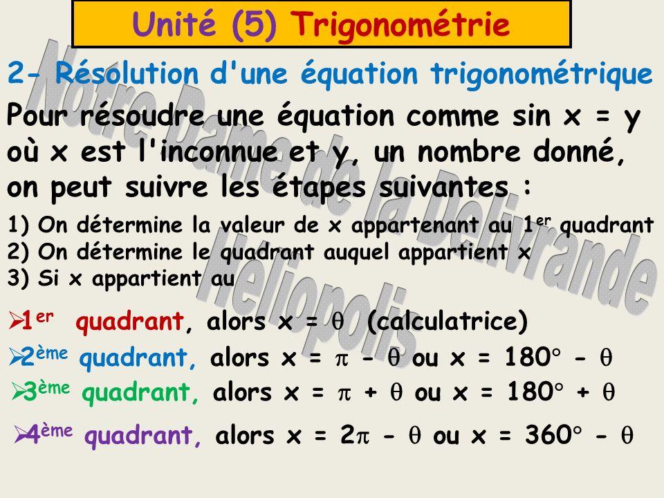 Unité (5) Trigonométrie Exemple (1) : Trouver la solution générale pour chacune des équations suivantes : a) sin = ½ b) 2 cos = 1 c) tg = Solution : a) sin = ½ > 0 1 er quadrant 2 ème quadrant = 30 = 180 - 30 = 150 = /6 = 5 /6 La solution générale : /6 + 2n ; 5 /6 + 2n où n Z Puisque la fonction est sinus, alors on ajoute 2n où n Z