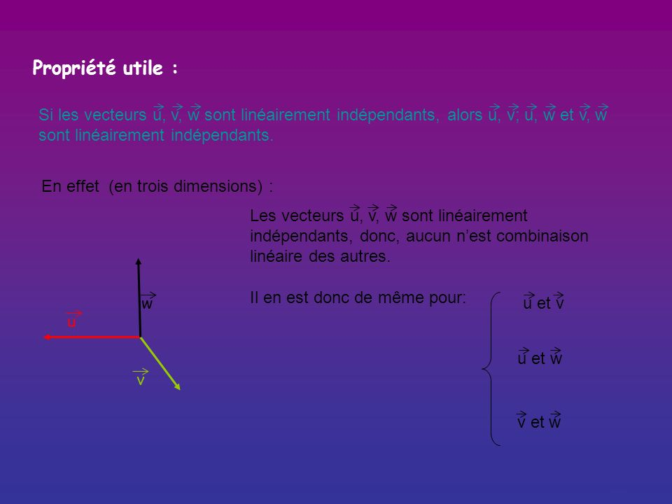 Propriété utile : Si u, v sont linéairement dépendants, alors u, v, w sont linéairement dépendants. En effet : u v w xv = uou xv – u = 0(x 0 ici x=2)