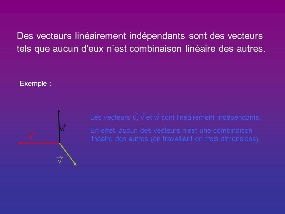 Définitions: Des vecteurs linéairement dépendants sont des vecteurs tels que lun deux est combinaison linéaire des autres. Exemple : u v w Les vecteur