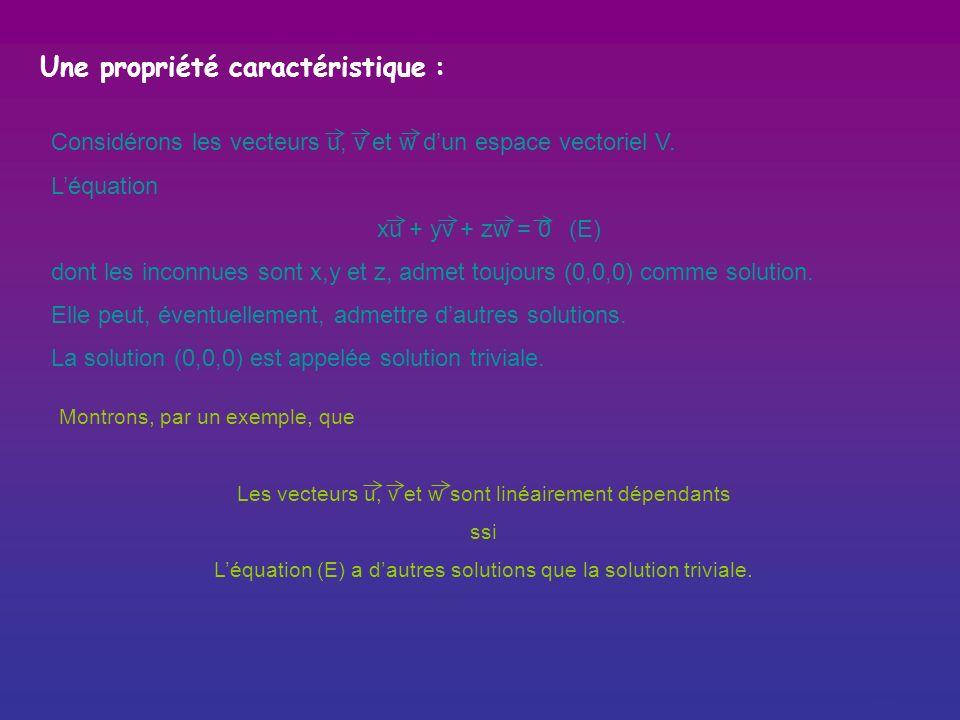 Des vecteurs linéairement indépendants sont des vecteurs tels que aucun deux nest combinaison linéaire des autres. Exemple : u v w Les vecteurs u, v e