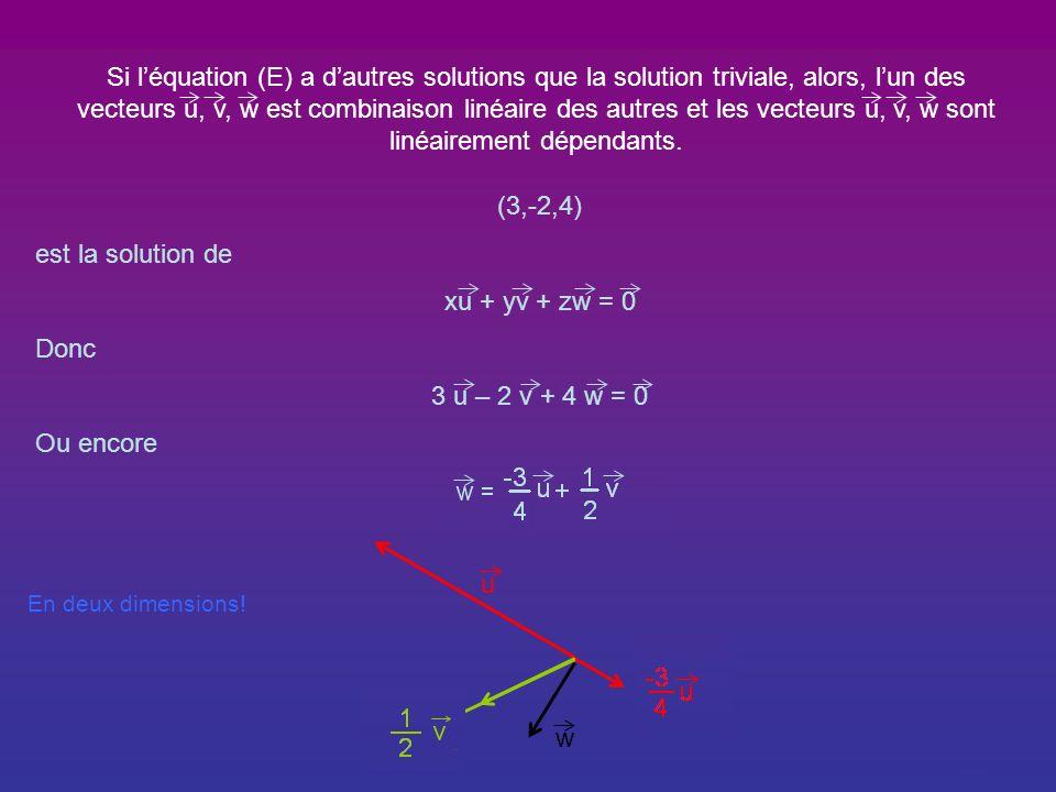 Si les vecteurs u, v et w sont linéairement dépendants, alors, léquation (E) a dautres solutions que la solution triviale. w = 2 u + 3 v ou encore 2 u
