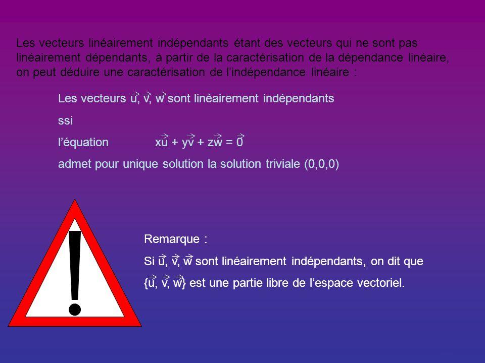 Généralisation : A partir de lexemple, on peut caractériser la dépendance linéaire comme suit : Les vecteurs u, v, w sont linéairement dépendants ssi léquation xu + yv + zw = 0 admet dautres solutions que la solution triviale (0,0,0).