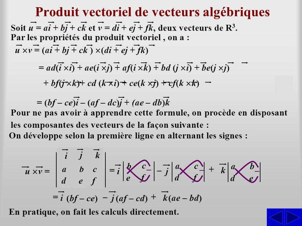 b c e f Produit vectoriel de vecteurs algébriques ijk abc def u v = S Soit u = ai + bj + ck et v = di + ej + fk, deux vecteurs de R 3. Par les proprié