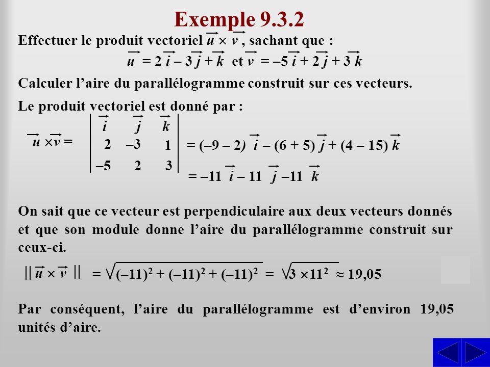 Exemple 9.3.2 Effectuer le produit vectoriel u v, sachant que : SS Le produit vectoriel est donné par : Calculer laire du parallélogramme construit su
