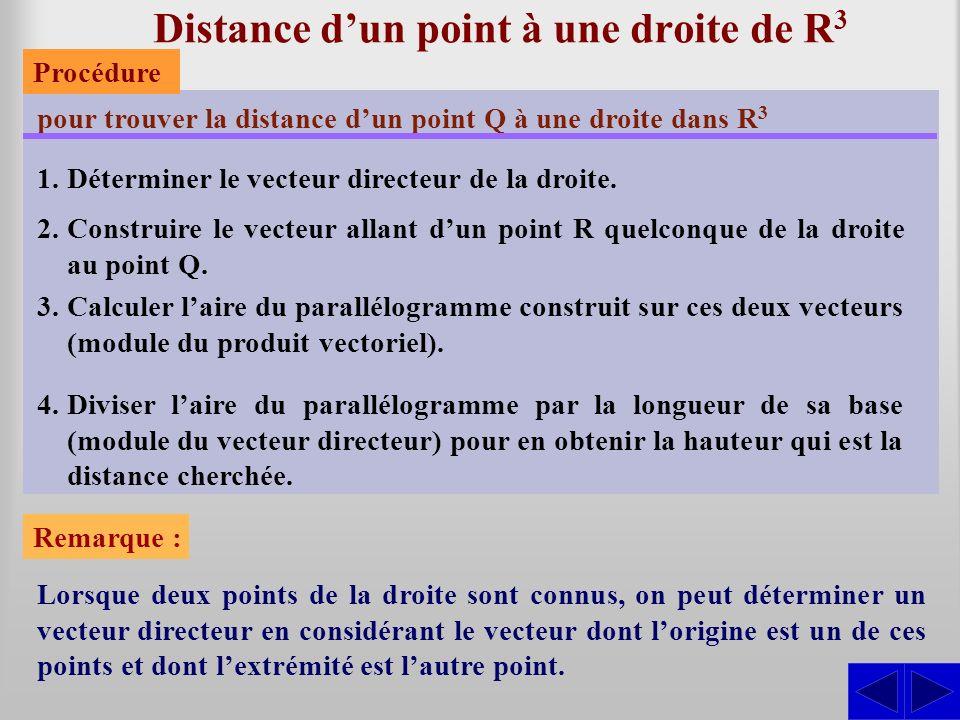 Distance dun point à une droite de R 3 pour trouver la distance dun point Q à une droite dans R 3 1.Déterminer le vecteur directeur de la droite. 2.Co