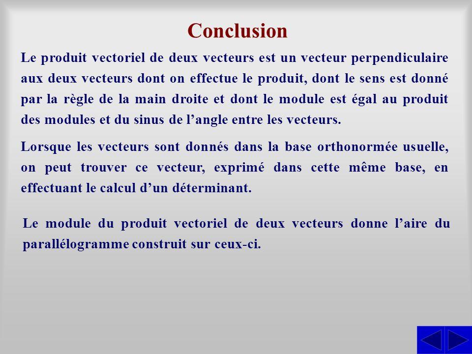 Conclusion Le produit vectoriel de deux vecteurs est un vecteur perpendiculaire aux deux vecteurs dont on effectue le produit, dont le sens est donné
