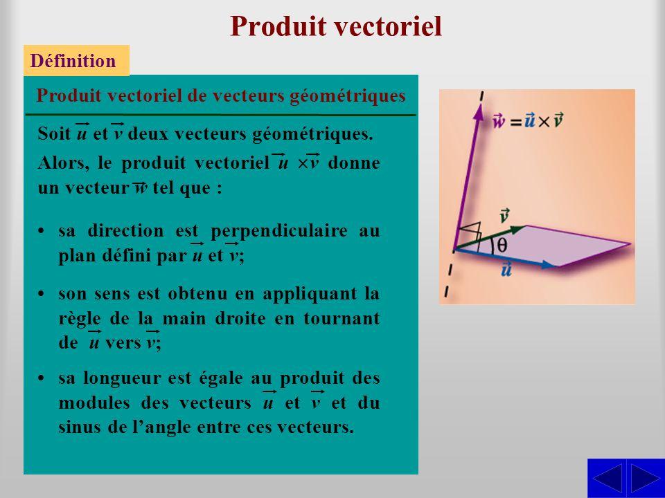 Produit vectoriel Définition Soit u et v deux vecteurs géométriques. Produit vectoriel de vecteurs géométriques Alors, le produit vectoriel u v donne