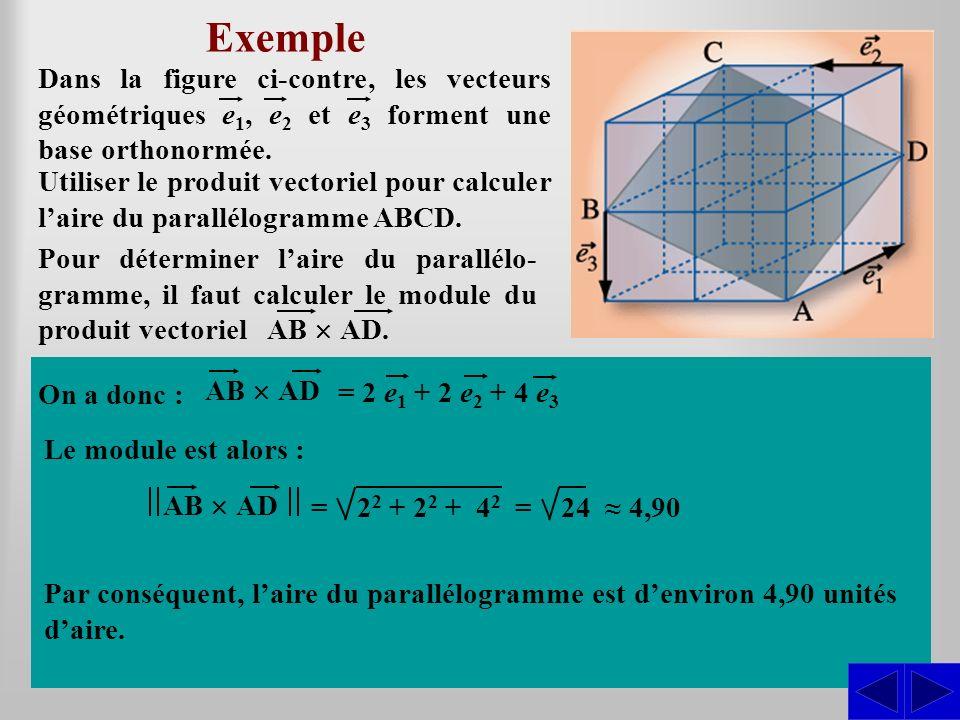 Exemple Utiliser le produit vectoriel pour calculer laire du parallélogramme ABCD. Dans la figure ci-contre, les vecteurs géométriques e 1, e 2 et e 3