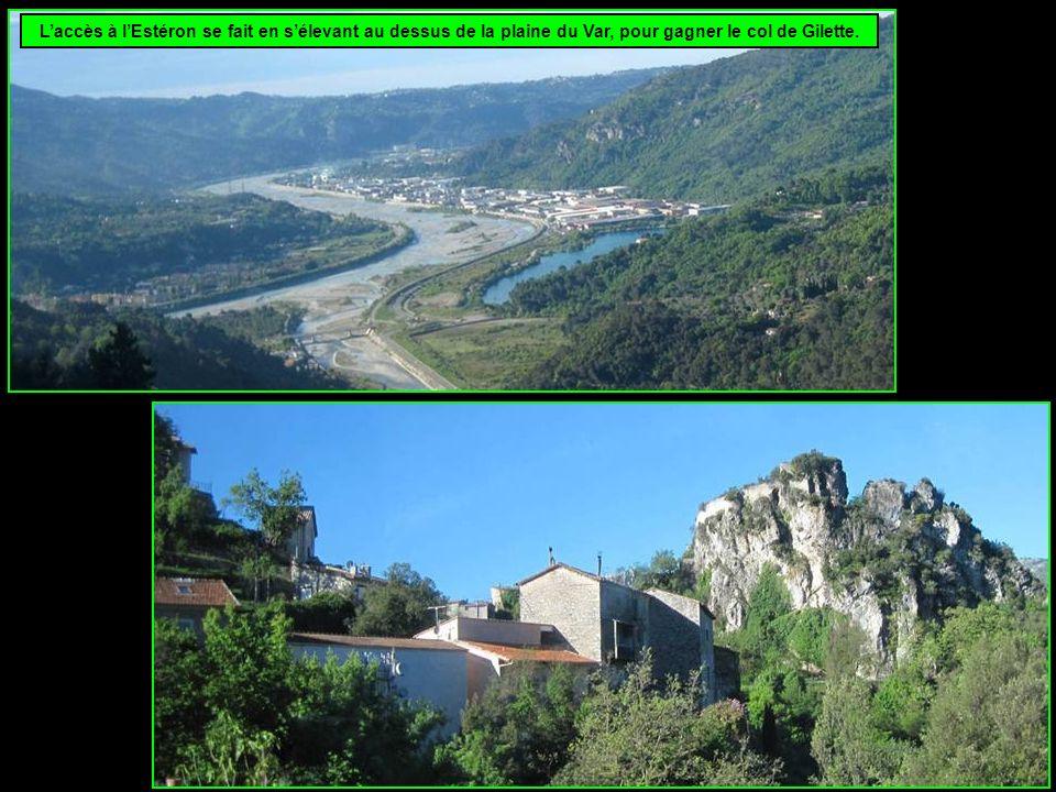 Laccès à lEstéron se fait en sélevant au dessus de la plaine du Var, pour gagner le col de Gilette.