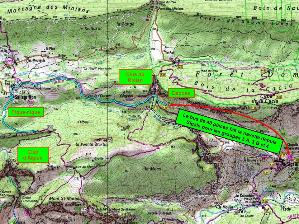 Clue du Riolan Pique-nique Dépose Clue dAiglun Le bus de 40 places fait la navette depuis Sigale pour les groupes 3 A, 3 B et 4.