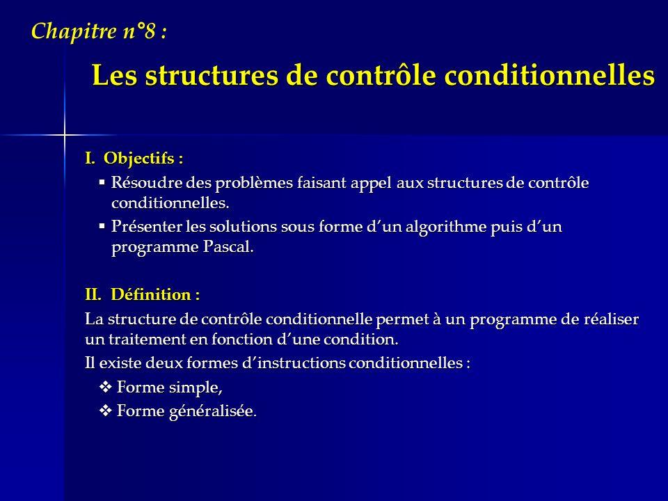 Les structures de contrôle conditionnelles I. Objectifs : Résoudre des problèmes faisant appel aux structures de contrôle conditionnelles. Résoudre de