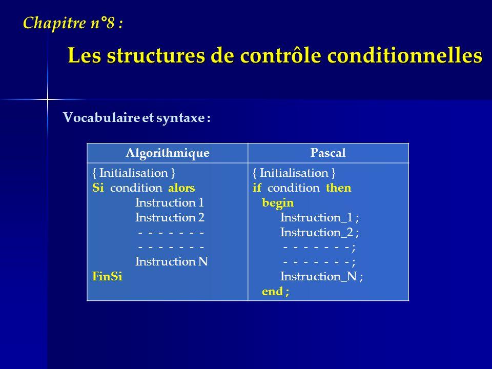 Les structures de contrôle conditionnelles Chapitre n°8 : Remarques : Lorsque lévaluation de la condition produit la valeur : VRAI: les instructions entre « Alors » et « FinSi » seront exécutées.