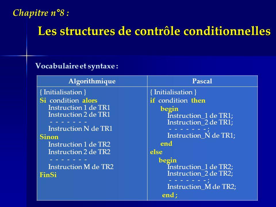 Les structures de contrôle conditionnelles Chapitre n°8 : Remarques : On remarque labsence du ; après le « END » qui précède le « ELSE » car linstruction « IF » nest pas encore finie.