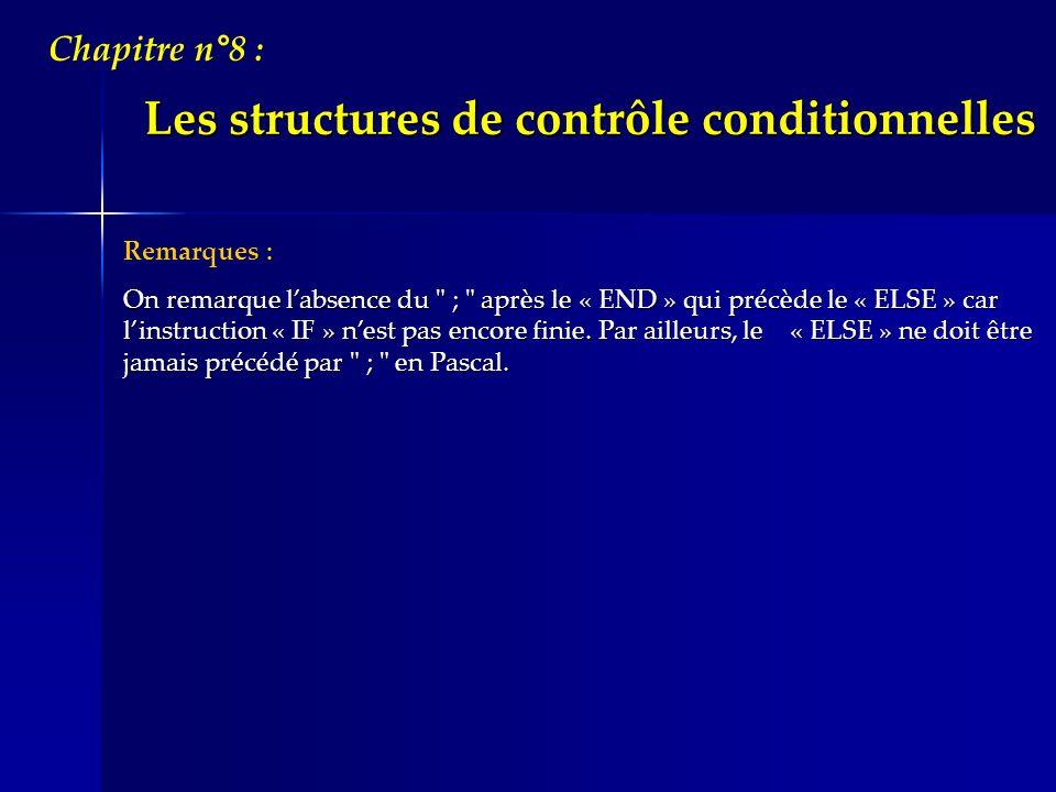 Les structures de contrôle conditionnelles Chapitre n°8 : Remarques : On remarque labsence du