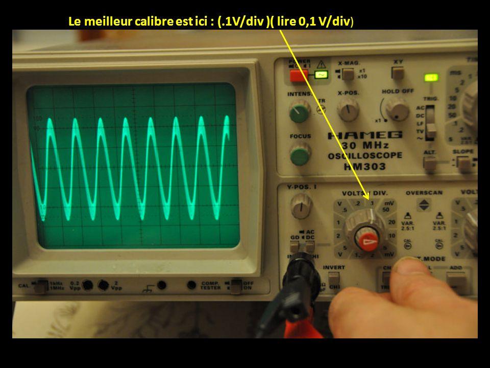 Le meilleur calibre est ici : (.1V/div )( lire 0,1 V/div )