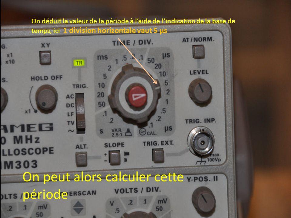 On déduit la valeur de la période à laide de lindication de la base de temps, ici 1 division horizontale vaut 5 µs On peut alors calculer cette périod