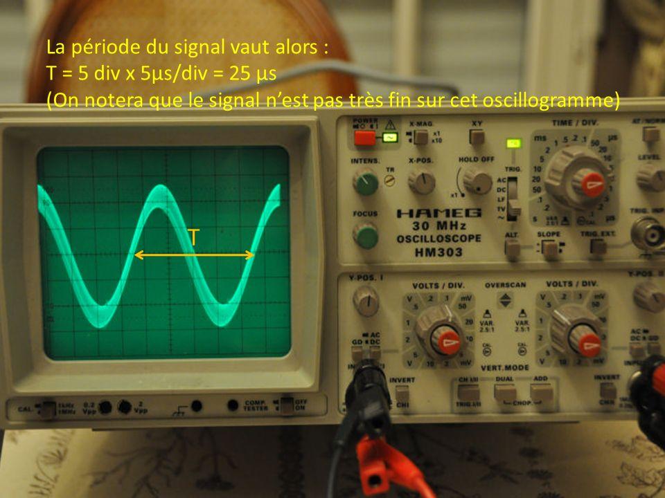 T La période du signal vaut alors : T = 5 div x 5µs/div = 25 µs (On notera que le signal nest pas très fin sur cet oscillogramme)