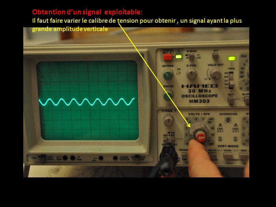Obtention dun signal exploitable: Il faut faire varier le calibre de tension pour obtenir, un signal ayant la plus grande amplitude verticale