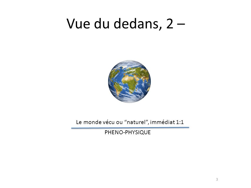 Vue du dedans, 2.1 – 4 Le monde vécu ou naturel, immédiat 1:1 PHENO-PHYSIQUE I II Le monde matériel, bio-physique John Searle : …et il est subjectif, car social – example : screwdriver (GENO-PHYSIQUE)