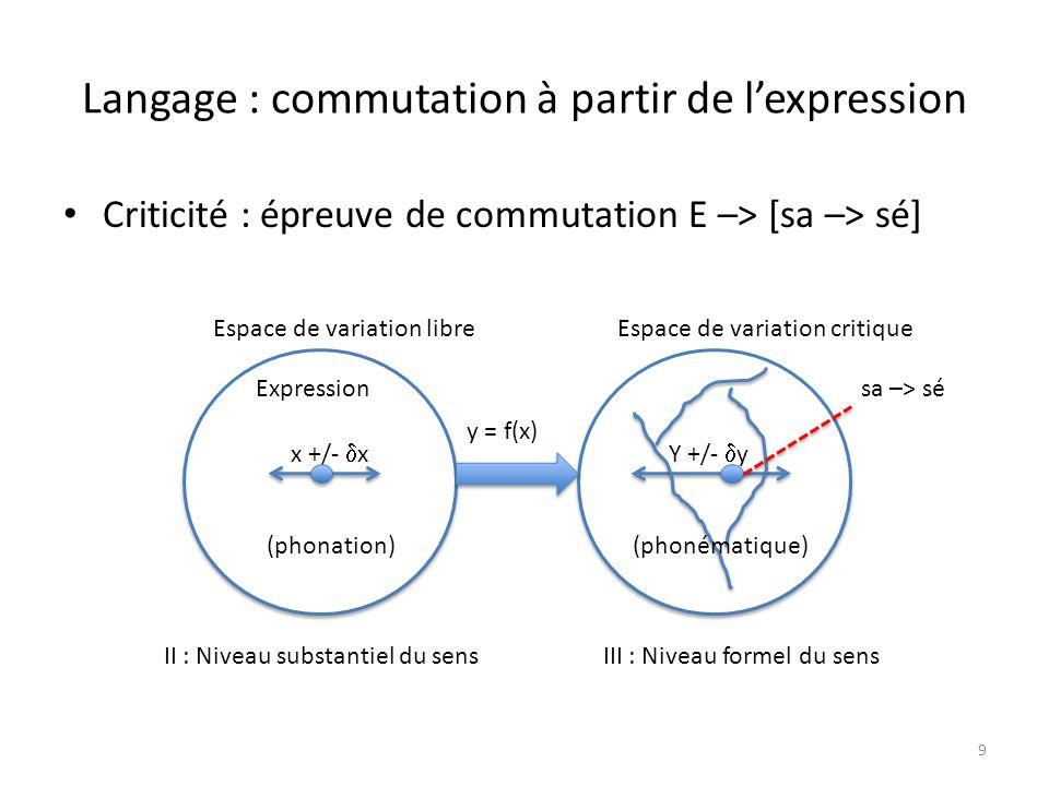 Langage :commutation à partir du contenu Criticité : épreuve de commutation C –> [sé –> sa] 10 y y Espace de variationEspace critique x +/- x II : Niveau substantiel du sens Y +/- y y = f(x) III : Niveau formel du sens (variation du référent) (saut entre termes ou morphèmes) Contenu sé –> sa