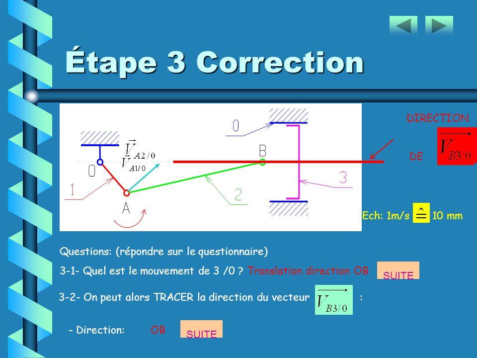 Étape 3 Questions: (répondre sur le questionnaire) 3-1- Quel est le mouvement de 3 /0 ?...............................................................
