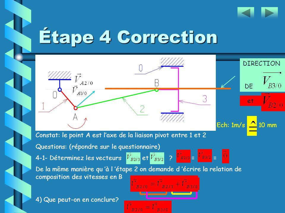 Constat: le point B est laxe de la liaison pivot entre 3 et 2 Questions: (répondre sur le questionnaire) 4-1-Déterminez les vecteurs et ? ………………………………