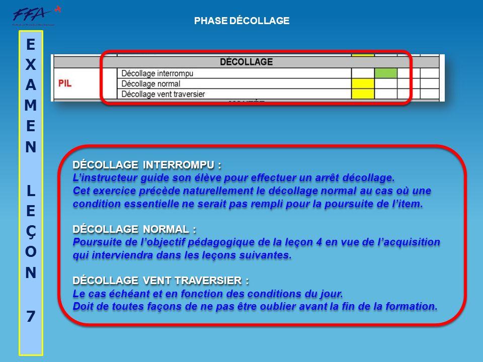 DÉCOLLAGE INTERROMPU : Linstructeur guide son élève pour effectuer un arrêt décollage. Cet exercice précède naturellement le décollage normal au cas o