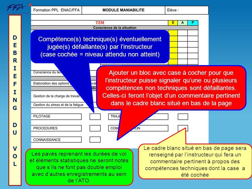 Compétence(s) technique(s) éventuellement jugée(s) défaillante(s) par linstructeur (case cochée = niveau attendu non atteint) Le cadre blanc situé en