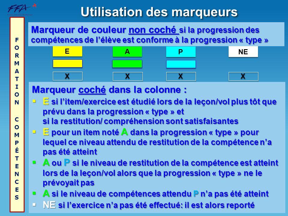 Utilisation des marqueurs X X P P X X A A E E X X Marqueur de couleur non coché si la progression des compétences de lélève est conforme à la progress