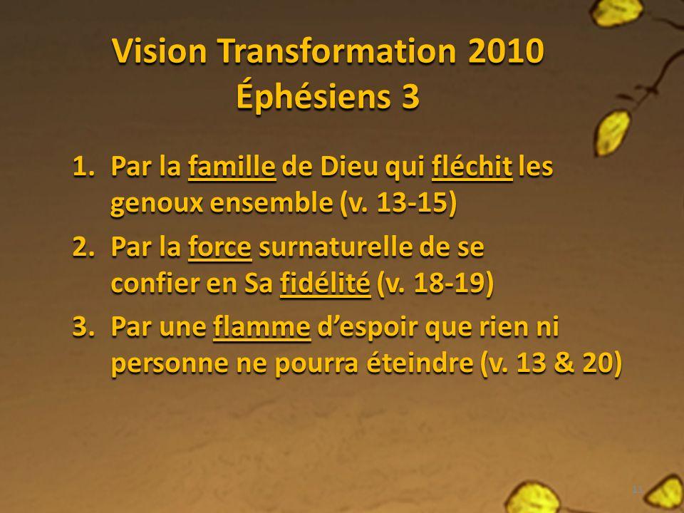 Vision Transformation 2010 Éphésiens 3 1.Par la famille de Dieu qui fléchit les genoux ensemble (v.