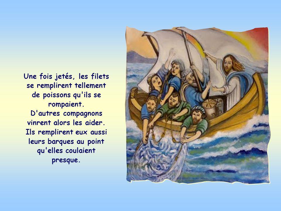 Après avoir parlé à la foule, Jésus prit place dans la barque de Simon, puis il lui dit, ainsi qu'à ses compagnons, de jeter leurs filets dans le lac.