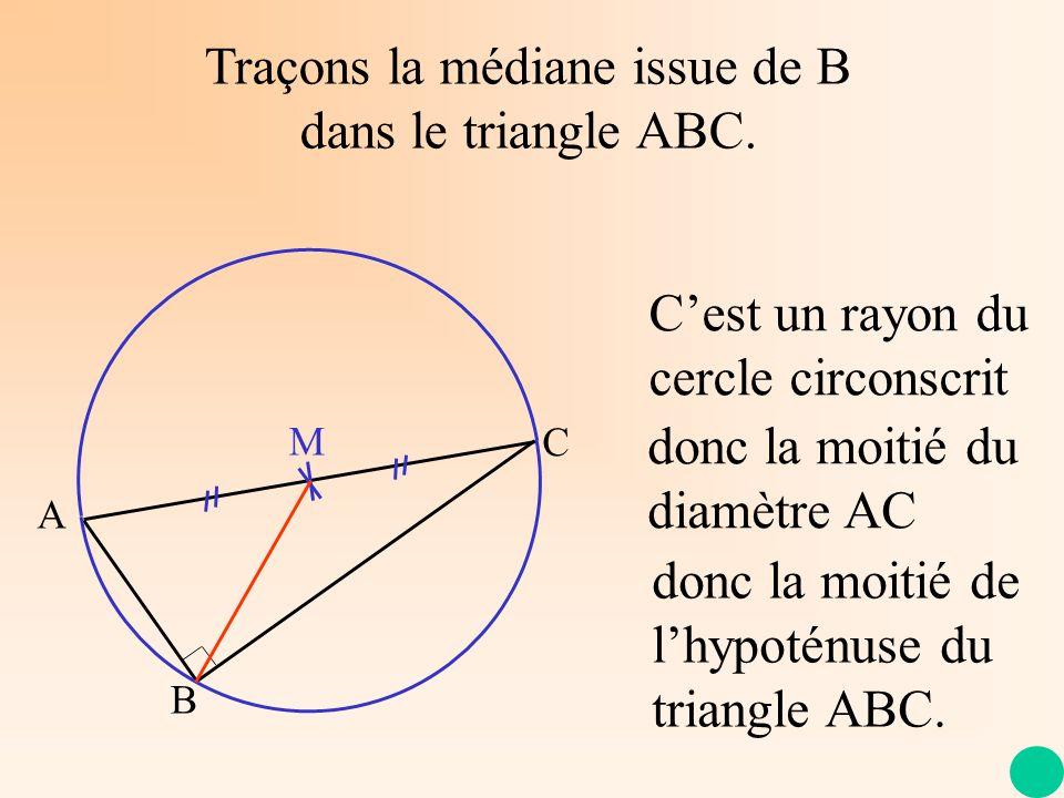 Traçons la médiane issue de B dans le triangle ABC. A C B M Cest un rayon du cercle circonscrit donc la moitié du diamètre AC donc la moitié de lhypot