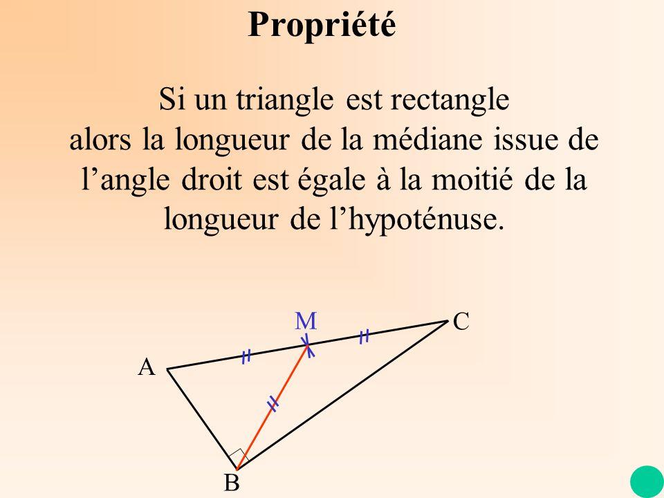 Propriété Si un triangle est rectangle alors la longueur de la médiane issue de langle droit est égale à la moitié de la longueur de lhypoténuse. A C
